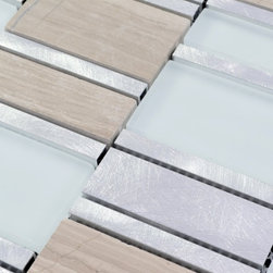 Metal Stone Glass Mosaic Tile - Product Description:Item#: MAG0011Collection: Metal glass tileColor: Color Blend(White and Brown)Surface Finish: Matel and Wave effect Glass and Glossy effect GlassShape: RectangleChip Size: 3/10x3+7/10x3+2x3 In. (8mm x 73mm + 20mm x 73mm + 40mm x 73mm)Thickness: 5/16 In. (8mm)Each sheet of this glass tile is approximately 1 sq ft per sheet and is mesh mounted on high quality fiber glass for easy installation of your glass mosaic tile projects.Application: Metal Glass mosaic tiles are impervious to the water, thus it is great for both interior and exterior use so moisture is not an issue. Mosaic glass tiles are great on walls and have been most popular in wall facades as well as a variety of other applications.Characteristics: Metal Glass mosaic tile has zero water absorption rate, and this tile exceeds ANSI standards for water absorption for mosaic tile. It is strong, durable, contamination free, and only the best quality tiles are selected as our tiles are inspected for blemishes before shipment.