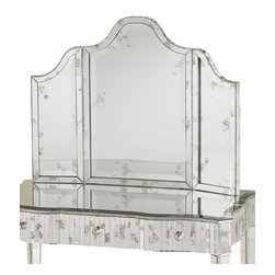 Gilda Vanity Mirror - Just as in a French maisonette, the Gilda Vanity Mirror brings simple, well-placed grandeur to your boudoir, dressing room, or spacious en suite. The tri-fold mirror panels display a softly highlighted, antique beveled mirror with a delicate appeal that belies its functionality. Perfectly proportioned to complement the Gilda Vanity, the mirror is a shining example of beauty in simplicity.