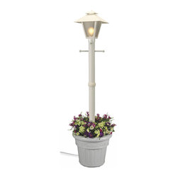 Patio Living Concepts - Patio Living Concepts Cape Cod 66001 80 Inch White - Single Coach Lantern Plante - 66001 80 Inch White - Single Coach Lantern Planter belongs to Cape Cod Collection by Patio Living Concepts Design inspired by turn of the century gas flame lanterns. This electric waterproof lantern planter features frosted bevel panels, white resin construction and granite colored resin planter base. Two level dimming switch and 10 ft. weatherproof cord and plug. 1-100 watt bulb maximum. Model # 66001 Lantern (1)