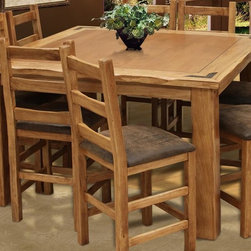 Artisan Home Furniture - Casual Dining Rustic Counter Height Table - Stools not included. Multi-step lacquer finish. Designed to seat up to eight people. Crafted from selected hardwoods featuring Cottonwood and Alder. 57 in. L x 57 in. W x 36.25 in. H