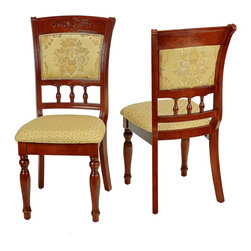 Cortesi Home - Winthrop Dining Chair (Set of 2) - The Winthrop dining chair adds a touch of class with its elegant and refined Queen Anne style. The standout feature is the colonial style legs which are mirrored in the back panel spindles. Another design element is the beautiful yellow & gold brocade fabric juxtaposed between a flower & a geometric print. This chair is made out of solid wood in a chestnut finish and carved to perfection.