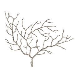 Kathy Kuo Home - Edwin Metal Tree Branch Modern Wall Sculpture - Biomimicry seems to be the design story that just won't go away, however inspiration from nature really isn't new at all.  This polished nickel tree wall sculpture is a continuation of a long beloved tradition.  Contemporary, yet as old as nature, the arboreal motif is beautifully realized in this piece.