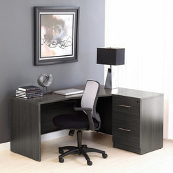 Jesper - Jesper Right Crescent Desk and Filing Cabinet - Espresso Dark Brown - JOLL172 - Shop for Desks from Hayneedle.com! Simple style innovative technology the The Jesper Office Desk and Filing Cabinet Espresso provides a unique office set in two easy pieces. It starts with the reputable Jesper Office desk an n ergonomic piece designed to keep you comfortable and adjusted while you work. The popular desk features an aluminum frame and base so it's lightweight and can be moved easily while both the desk and the filing cabinet are crafted from durable laminate and wood veneers. The matching espresso filing cabinet features two deep 19-inch drawers and a central locking mechanism for secure storage of papers and other items.About Jesper OfficeJesper Office originally based in Denmark specializes in making modular office furniture for homes and small businesses as well as a complementary line of modular library and home entertainment furniture. Now operating with a U.S. warehouse in Branchburg N.J. Jesper Office is committed to making high-quality flexible beautiful pieces with respect toward the environment. Furniture is made with contract-quality chipboard composed of pressed wood shavings and wood veneer a resource-effective and earth-friendly product.