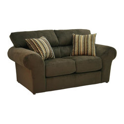 Catnapper - Mesa Loveseat in Chocolate Finish - Includes pair of correlating 2-toned pillows. Generously scaled contemporary design. Pub back for ultimate comfort. Extra thick seat cushions for plush seating. Decorative top stitching on seats and backs. Quality features:. Solid hardwoods are used at all stress points. Computer cut wood parts with extra glue and stapling guarantees a long lasting framework to the sofa. High resiliency foam delivers the comfort and contours you want, with the built-in bonus of durability. Comfort coil seat cushions offers ultimate comfort and durability. Blown-fiber backs are softer, offering less resistance and more comfort. Precision tailoring and inspection ensures that seams, nails and ornamental trims are built right every single time. Springs of 12-gauge heat tempered steel in the back and heavier 8-gauge steel in the seat provide strength, comfort and flexibility. Edges smoothed with foam and fiber padding. Reinforced arm parts - strengthen the weakest point in the frame construction with secured wood slats instead of foam. Cleaning method:. Clean only with water-based shampoo or foam upholstery cleaner. Do not over wet. Do not use solvent. Do not saturate with liquid. Pile fabrics may require brushing to restore appearance. Cushion covers should not be removed and laundered. Made of 100% polyester. No assembly required. Limited lifetime warranty. 77 in. W x 42 in. D x 41 in. H (135 lbs.)