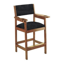 Cue & Case - Classic Spectator Chair w Black Upholstered Back & Seat (Old World Mahogany) - Choose Wood Stain: Old World Mahogany. Enjoy solid styling matched with comfortable seating and convenience, too.  Handsome spectator chair features handy beverage and cue holders for greater enjoyment.  Blocked design is skillfully crafted and incorporates a lipped foot rail with decorative and protective scuff strip.  Casual framing style will be at home with any decor.  The arms have drinks holders and cue rests built into their solid wooden design. * Cue and drink holders . Assembly using special brass screw inserts . Double washer assures screws stay in place permanently . Reinforced dowels increase durability . Spectator Chair w Upholstered Back & Seat  with arms and slots for drinks. 47.5 H x 27.5 W x 22 D in.. 30 in. Seat Height