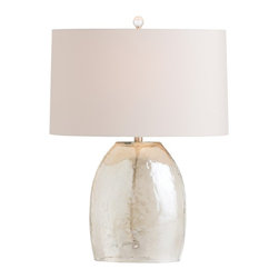 Arteriors - Jean Lamp - This tapered oval gray luster glass lamp has a surface that appears to be hammered. The oval shade in khaki microfiber is lined in ash gray and blends with the color of the glass. This is a perfect lamp for a taller chest or side table. Finish may vary. Takes one 150 watt three-way bulb.