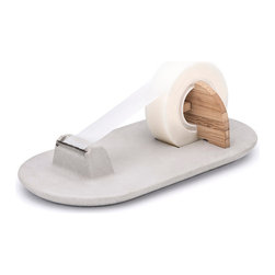Mensch Made / Handmade in The Netherlands - Tape Mate Tape Dispenser - A perfect addition to any modern office, this concrete tape dispenser is made from a combination of concrete and bamboo to give it a minimalist and refined look.