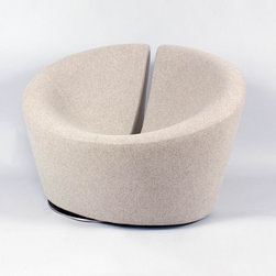 Contemporary Swivel Lounge Chair - The luxurious and contemporary Contemporary Swivel Lounge Chair is simple, sweet, and seductively charming. Swiveling smoothly on a stainless steel base, this wool seat is a great way to round out the living room collection.