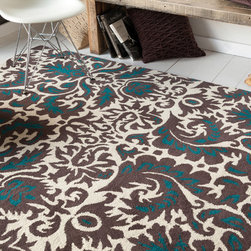 Filament - Allie Hand-tufted Abstract Brown Wool Rug (5' x 7'6) - This thick and plush Allie rug is hand-tufted in India using premium quality wool. This area rug features an abstract design in shades of teal blue and white against brown background.