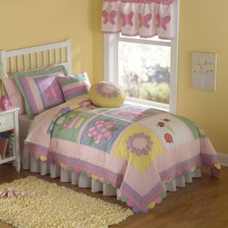 Pem America Annas Dream Quilt Mini Set - Drift off to a far away land where patches of blithe butterflies perfectly pink flowers and lovely little ladybugs dance with the Pem America Anna's Dream Quilt Mini Set. Throw in some lavender and white polka dots sun-inspired daisies and grassy green patches and you are set to dream the night away in sumptuous springtime slumber any time of the year! From its pleasant pastel color palette to its delicately scalloped edging this hand-crafted 100% cotton quilt is sure to brighten any room. Pre-washed to provide added texture and an antique appearance this quilt set is also conveniently machine washable. Available in twin or queen size -the queen is also suitable for a full! Twin set comes with one pillow sham while the full/queen set comes with two. Get ready to catch some z's and butterflies with this pretty new set!Bedding Set ComponentsTwin: quilt 1 pillow shamFull/Queen: quilt 2 pillow shamsAbout Pem AmericaMakers of high quality handcrafted textiles Pem America Outlet specializes in bedding that enhances your comfort and emphasizes the importance of a good night's rest. Quilts comforters pillows and other items for the bedroom are made with care and craftsmanship by Pem America. Their products cover a wide range of materials styles colors and designs all made with long-lasting quality construction and soft long-wearing materials. Details like fine stitching embroidery and crochet decorations and reinforced seaming make Pem America bedding comfortable and just right for you and your family.