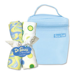 "Trend Lab - Dr. Seuss Blue Oh! The Places You'll Go! - Bottle Bag & Burp Cloth Set - Trend Lab's Dr. Seuss Blue Oh! the Places You'll Go! Bottle Bag and Burp Cloth Set is the perfect gift for any mom to be! Set includes a solid blue insulated bottle bag and four burp cloths each with fun, modern printed cotton percale on the front and terry on the back. Zippered closure on the bottle bag allows temperature control keeping bottles and snacks hot or cold. Durable nylon fabric easily wipes clean. Bottle bag can hold 2 standard bottles. Burp cloth patterns include: two dot print in cornflower blue, powder blue, grass green, key lime and soft yellow, one swirl print in both blues, key lime and soft yellow and one bold stripe print in both blues. Bottle bag measures 5"" x 7"" x 3"" and each burp cloth measures 13"" x 10"". Product sold under license from Dr. Seuss Enterprises, L.P."
