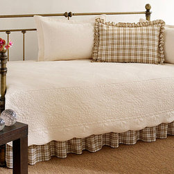 None - Trellis Ivory 5-piece Daybed Set - Add style and function to your guest room with this lovely five-piece day bed set by Trellis. This set is constructed of 100 percent cotton,and includes a ruffled sham,two quilted shams,one bedskirt,and one quilt,all of a pristine ivory color.