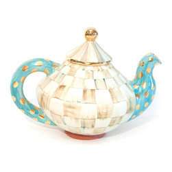 Parchment Check Teapot | MacKenzie-Childs - Welcome in any setting. Our Parchment Check Teapot reminds us of the perfect guest: well mannered and yet still full of personality. Color-dragged checks, blending parchment, taupe, gold, and aqua. Some of our serving pieces get a little boisterous with bold, gold spots on an aqua field. Lustred gold rims and accents. Handcrafted terra cotta, hand-painted and kiln fired, four times, by our artisans in Aurora. Hand-wash with care.