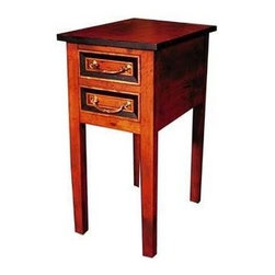 British Traditions - 2 Drawer End Table w Straight Legs (Wild Blueberry) - Finish: Wild Blueberry. Each finish is hand painted and actual finish color may differ from those show for this product. Cherry end table. 2 Small drawers. Straight legs. Drawers cannot take pulls, knobs only. Black and gilt trim will be on top edge and drawer front edges. Minimal assembly required. Drawer size: 8 in. W x 13 in. D x 3.5 in. H. 13.5 in. W x 20 in. D x 28 in. H (31 lbs.)This cherry table will complement any room.