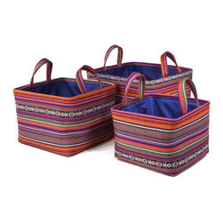 """Traders and Company - Colorful Nested Square Fabric Baskets, Set of 3 - Lg = 12.5""""x12.5""""x9""""H - Aurora - Wake up any room with our colorful nested fabric hampers and baskets. Studry metal frame maintains the opening shape, and bright geometric patterns add a flash of color. Great for everyday storage around the home or in the kids room. Other patterns and shapes sold separately. Dimensions: L - 12.5""""L x 12.5""""W x 9""""H, M - 11""""L x 11""""W x 8""""H, S - 9.5""""L x 9.5W x 7.25""""H"""