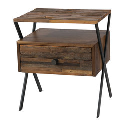 Four Hands - Zoe End Table - Whimsically recalling an old-fashioned sewing box, this sleek end table is one of a kind. It's hand-crafted from a mix of sustainably harvested and reclaimed woods and given a natural finish sure to blend beautifully with your decor.