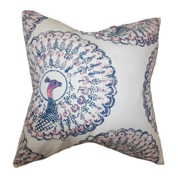 "The Pillow Collection - Ieesha Animal Print Pillow Sapphire 18"" x 18"" - Add a casual vibe to your home with this modern accent pillow. This toss pillow features a peacock pattern in shades of purple, pink and white. Stylize your living room or bedroom with a few pieces of this throw pillow which comes in a variety of colors. This US-made 18"" pillow is made of 95% cotton and 5% linen. Hidden zipper closure for easy cover removal.  Knife edge finish on all four sides.  Reversible pillow with the same fabric on the back side.  Spot cleaning suggested."
