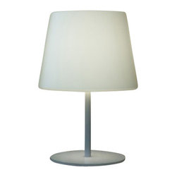 """Schuller - Schuller Borneo Outdoor Table Lamp - The Borneo Outdoor Table Lamp has been made by Schuller in Spain.  This outdoor table lamp collection was made of stainless steel and iron base, matt chrome paint finish. White polyethylene shade,protection rate IP64 The lamping comes with 1 x E27 CFL. Max. 25W or LED (Not included).  The Borneo Outdoor Table Lamp has been made by Schuller in Spain.  This outdoor table lamp collection was made of stainless steel and iron base, matt chrome paint finish. White polyethylene shade,protection rate IP64 The lamping comes with 1 x E27 CFL. Max. 25W or LED (Not included).     Manufacturer: Schuller   Designer: Schuller    Made in: Spain    Dimensions:  Height:22.83"""" (58 cm) X Depth:15.75"""" (40 cm) X Width:15.75"""" (40 cm)     Lamping:  1 x E27 CFL. Max. 25W or LED (Not included)     Material: Stainless steel"""