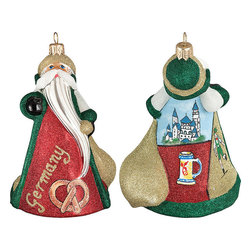 Frontgate - Glitterazzi International Germany Santa Ornament - Each ornament takes up to 7 days to produce. Constructed of 100% European-made glass. Arrives in a handsome black lacquered box for gifting and safekeeping. Hanger is included for easy display. Our collectible Glitterazzi International Ornament from Joy to the World was created with the utmost attention to quality and detail. The finest artisans in Poland individually mouth blow and hand paint each ornament, achieving new levels of innovation and artistic integrity in their designs. Using only traditional old world production methods and materials sourced from European countries, they ensure that each ornament is an impressive work of art that will be treasured for generations. . . . . Made in Poland.
