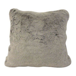 Used Faux Fur Throw Pillow in Gray - Just Reduced!    This foxy throw pillow is made from a fun faux fur in a soft gray hue with a black undercoat. Fashionable and environmentally friendly with a luxurious feel and fabulous look-- mock fur is no joke! Brought to us by Anthem, SF.  Yummy.