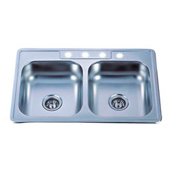 Kingston Brass - SS Mirror Gourmetier Self-Rimming Double Bowl Kitchen Sink Mirror GKTD33227MR - The self-rimming kitchen sink features a special mirror-reflected surface. The sink consists of two square-shaped basins and four drilled holes built in superior quality stainless steel for durability and a long-lasting experience.Manufacturer: Kingston BrassModel: GKTD33227MRUPC: 663370136085Product Name: Gourmetier GKTD33227MR Self-Rimming Double Bowl Kitchen Sink, MirrorCollection / Series: StudioFinish: SS MirrorTheme: N/AMaterial: Stainless Steel MirrorType: Kitchen SinksFeatures: 304 Grade Stainless Steel. resist from chips and scratches