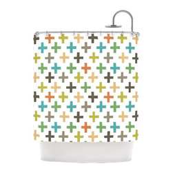 "Kess InHouse - Daisy Beatrice ""Hipster Crosses Repeat"" Multicolor Shower Curtain - Finally waterproof artwork for the bathroom, otherwise known as our limited edition Kess InHouse shower curtain. This shower curtain is so artistic and inventive, you'd better get used to dropping the soap. We're so lucky to have so many wonderful artists that you'll probably want to order more than one and switch them every season. You're sure to impress your guests with your bathroom gallery in addition to your loveable shower singing."