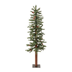 """Vickerman - Frostd Alpine Berry LED 150WmWt (4' x 19"""") - 4' x 19"""" Frosted Alpine Berry Cone 242 PVC Tips,  150 LED Warm White Lights"""