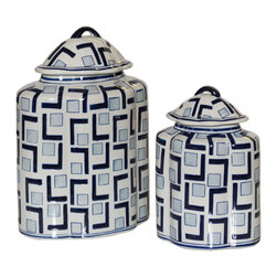 John Richard - John Richard Set of 2 L'S and Squares B and W Lidded Jars JRA-9739S2 - These blue and white lidded jars are decorated in a modern L and Square design.