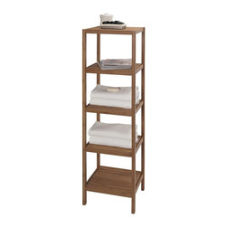 CreativeWare Home - Eco Style Bamboo 5 Shelf Tower - 14.5 in. W. x 53.5 in. H x 13 in. D. Environmentally sound bamboo. Decorative . Use in any room of the home. Easy Assembly hardware included