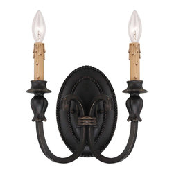 Savoy House - Provence 2-Light Sconce - Elaborate, yet streamlined, finished in antique copper with cream drip candle cover