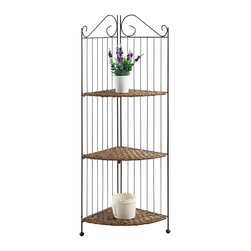 Farmington 3 tier Folding Corner Iron Shelf - Enjoy this Farmington corner three tier maize woven shelf that fits perfectly in any corner in your home.  The hand crafted maize husk triangular shaped shelves are weaved over a metal frame to give it the strength needed to support books, pictures, etc.  The sculpted metal tops and slotted metal back give this item a distinct look. Constructed of metal and maize.  Clean with a dry non abrasive cloth.   Assembly required.