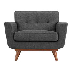 "LexMod - Engage Wood Armchair in Gray - Engage Wood Armchair in Gray - Gently sloping curves and large dual cushions create a favorite lounging spot. Whether plopping down after a long day at work, settling in with coffee and brunch, or entering a spirited discussion with friends, the Engage armchair is a welcome presence in your home. Seven tufted buttons create eye catching appeal; adding depth that brings your sitting decor to center stage. Four cherry color rubber wood legs and frame supply a solid base to the comfortable upholstered material. Set Includes: One - Engage Armchair with wood Legs Cherry color rubber wood, White plastic glides, 100% polyester material, Chair Weight Capacity - 440 lbs. Overall Product Dimensions: 33""L x 40""W x 32.5""H Seat Dimensions: 24.5""L x 27.5""W x 19""H Armrest Dimensions: 4.5""W x 6.5""HBACKrest Dimensions: 6""L x 17.5""H Cushion Thickness: 6""H - Mid Century Modern Furniture."