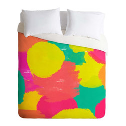 DENY Designs - DENY Designs Rebecca Allen Oh Happy Day Duvet Cover - Lightweight - Turn your basic, boring down comforter into the super stylish focal point of your bedroom. Our Lightweight Duvet is made from an ultra soft, lightweight woven polyester, ivory-colored top with a 100% polyester, ivory-colored bottom. They include a hidden zipper with interior corner ties to secure your comforter. It is comfy, fade-resistant, machine washable and custom printed for each and every customer. If you're looking for a heavier duvet option, be sure to check out our Luxe Duvets!