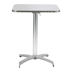 """Euro Style - Arden 24"""" Square Table - A hit for the cafe life inside or outside.  The textured stainless top is edge finished for a quality look and the all aluminum base completes the weatherproof construction. And the top easily tilts to a vertical position for great storage-ability."""