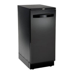 Broan 15XEBL Programmable 15W in. Trash Compactor - Black - The Broan 15XEBL Programmable 15W in. Trash Compactor – Black is a state-of-the-art model that makes your like a whole lot easier. After-dinner clean-up becomes simpler thanks to the powerful 3/4 horsepower motor that provides a 6:1 ratio compaction with 3000 lbs. of crushing force taking care of cans bottles food waste and more. The bin has a 1.55 cu.-ft.-capacity and slides out on full-extension ball-bearing glides to provide easy access for bag changes. An odor-management system keeps your kitchen smelling clean with only once-a-month maintenance. The console features a programmable timer and a features a memory back-up to retain your preferences. The door can be installed for either left- or right-hand opening with 170-degree swing. The unit is sound-insulated for quiet operation and features a child-lock for safety. An integrated storage compartment provides a handy place for extra bags. Product Specifications Amps 15 Capacity: 1.55 cubic foot Depth: 22.5 inches Height: 34.125 inches Motor: 3/4 Horsepower Door Opening: Reversible Volts: 120 Weight: 168 lbs. Compaction Force: 3000 lbs. Use: Residential Warranty: 1 year warranty About Broan With humble beginnings spanning almost a century Broan is a household name that you can trust. Founded in 1932 Broan thrived in the Depression Era by providing products that no home can do without. Today Broan has expanded its operations worldwide producing marketing and selling both domestically and internationally. Whatever your needs from ventilation units to heaters to trash compactors and more Broan is here to make your life more comfortable and more convenient.