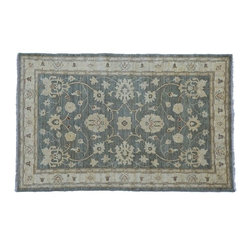 Gray Ziegler Mahal Rug, 4'X6' Hand Knotted 100% Wool Vegetable Dyes Rug SH8233 - Hand Knotted Oushak & Peshawar Rugs are highly demanded by interior designers.  They are known for their soft & subtle appearance.  They are composed of 100% hand spun wool as well as natural & vegetable dyes. The whole color concept of these rugs is earth tones.