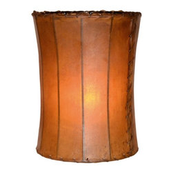 """Mathews & Company - Tall Rawhide Leather 14"""" Floor Lamp Shade - Our Rustic style Rawhide Leather 14"""" Lamp Shade is a beautiful piece of hand-crafted accent on any lamp base."""