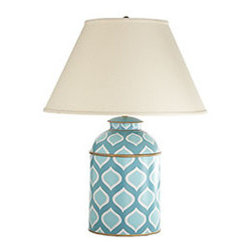 PERSEPOLIS CADDY LAMP - Reminiscent of rainy April days—when the sun is likely to be out during a downpour—this modern, handpainted lamp base is a lighthearted yet sophisticated addition to a living room or bedroom. The iron base is modeled from antique British Indian tea caddies, breathing new life into an old tradition. This showstopper looks great on simple, plain surfaces like an oak side table.