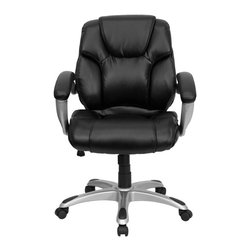 "Flash Furniture - Mid-Back Black Leather Office Task Chair - Very appealing mid-back office chair will highlight any office or home setting. Plush leather upholstery provides comfort with the extra thick padded seat and back. Built-in lumbar support will provide comfort when working for long hours. Chair features a silver nylon base with black caps that prevent feet from slipping. For your next office chair, look no further than this extremely comfortable and stylish leather office chair!; Executive Mid-Back Swivel Chair; Made of Eco-Friendly Materials; Black Leather Upholstery; Integrated Headrest; Double Padded Seat and Back; Built-In Lumbar Support; Tilt Tension Control; Spring Tilt Control Mechanism; Pneumatic Seat Height Adjustment; Padded Silver Finished Nylon Loop Arms; Heavy Duty Silver Nylon Base with Black End Caps; Dual Wheel Casters; Assembly Required: Yes; Country of Origin: China; Warranty: 2 Years; Weight: 43 lbs; Dimensions: 37.5 - 41.5""H x 27.5""W x 26""D"