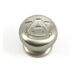 "Stone Mill Hardware - Auburn Cabinet Knob in SN - Stone Mill Hardware - Auburn Cabinet Knob in SN, A gorgeous satin nickel finish. Engraved with the Auburn University logo. Solid, high-quality cabinet hardware., Diameter: 1.25"", Projection: 1 1/8"",Product Finish/Color: Satin Nickel,The screws are included"