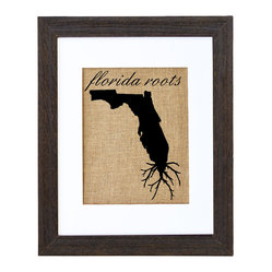 Fiber and Water - Florida Roots Art - Proud of your roots? Then let them show! This clever silhouette printed on natural burlap gives an earthy, nostalgic shout-out to your native soil. It comes ready to hang in a matching distressed black wood frame and contrasting white matte.