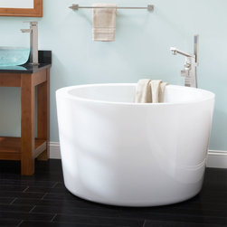 "41"" Siglo Round Japanese Soaking Tub - Create a spa-like atmosphere in your bathroom with the round Siglo Japanese Soaking Tub. The integral seat within the bathtub creates a comfortable experience."