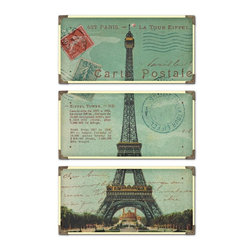 """Uttermost - Uttermost Eiffel Tower Carte Postale Traditional Architectural Framed Wall Art X - The prints are laminated to wood boards. Each board has antique brass corner accents and decorative screws. Each panel is 12"""" x 23"""" ."""
