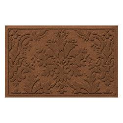 Bungalow Flooring - Aqua Shield 2'x3' Damask Mat, Dark Brown - Premium 24-oz. anti-static polypropylene mat traps dirt, water and mud.
