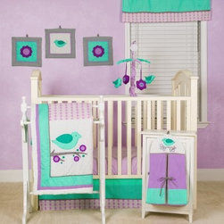 Love Birds 10 Piece Nursery to Go! - Finally, an adorable set that's not predictably pink! The Love Birds 10 Piece Nursery to Go! in turquoise, purple, and lavender features plump birds and cheery purple flowers. You'll receive a quilt, 2 crib sheets, crib skirt, diaper stacker, mobile, window valance, and 3 wall hangings. Part of the Love Birds collection. About Pam Grace CreationsPam Grace Creations was created by Pam Val, a loving wife and mother of four, in January of 2006. Pam had seven years of experience in the baby bedding and nursery decor industry from working with her sister to run their own baby product business. She brought this experience and knowledge of the industry to her own company, and Pam Grace Creations was born. Pam is committed to providing new parents a combination of style, affordability, and convenience, and to that end she created her Nursery-to-Go 10 piece baby bedding sets. These sets include everything parents need to outfit their new baby's room in a range of styles and color palettes at an affordable price--without having to hunt down their nursery items piece by piece.