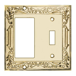 Renovators Supply - Switchplates Bright Solid Brass GFI Toggle Switch Plate - Switchplates. An elegant polished brass Victorian style wallplate with PVD finish.