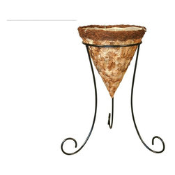 Larkwood Pressed Leaf Cone Basket - The Larkwood Pressed Leaf Cone Basket with Tripod Stand delivers the beauty of nature and the durability of modern tripod planters. An impressive blend of natural leaves and rattan cloak the durable galvanized wire frame.