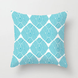 Diamond Illusion Pillow Cover in Aqua - Refresh your sofa with this thoroughly contemporary poplin pillow cover. A little bit of geometry and a lot of color in a cheery graphic are sure to give just the effect you've been looking for!