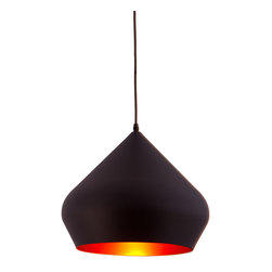 Smooth Mitre Pendant in Black - Add visual interest that shines (literally) to any room with this sleek, vivacious ceiling fixture. With its chic contours and smooth black finish, this royal pendant light adds a touch of modern sophistication to any décor without distracting.