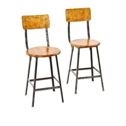 Industrial Stools - two matching original late 1920's american industrial assembly line factory stools with original solid maple wood circular seats and contoured backrest - angle steel stool co., inc., otsego, mi.